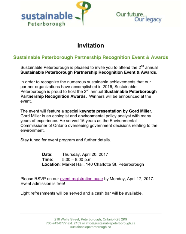2nd annual Sustainable Peterborough Partnership Recognition Event & Awards
